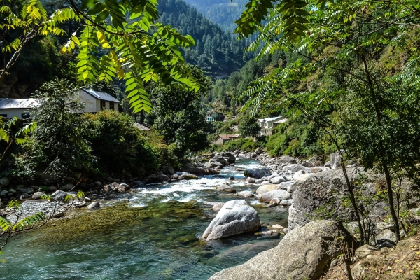 A river in the Himalayas in India